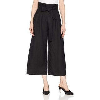 ASTR the label Women's Deema Paperbag HIGH Waist Casual Wide, Black, Size Small