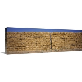 """Hay stacks in a field, California,"" Canvas Wall Art"