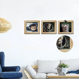 "3D Cute Litter Cat Vinyl Home Room Decor Removable Frame Stick Set of 3pcs 11.8""x35.4"""