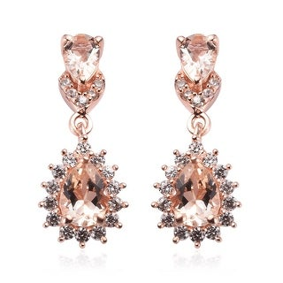 Link to Rose Gold Over Sterling Silver Morganite Dangle Earrings Ct 2.65 Similar Items in Earrings