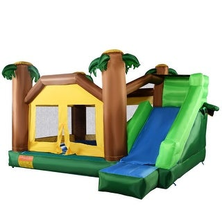 Costway Inflatable Moonwalk Jungle Bounce House Jumper Bouncy Jump Bouncer Castle - Green