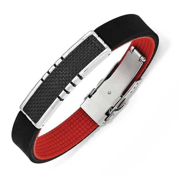 Chisel Stainless Steel Polished Carbon Fiber ID Black and Red Rubber Bracelet