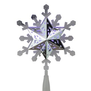 """9.25"""" LED White and Blue Rotating Christmas Snowflake Tree Topper - Clear"""