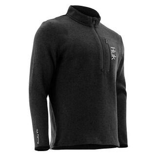 Huk Men's Channel Black Size Large 1/4 Zip Sweater