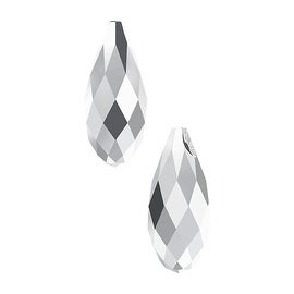Swarovski Crystal, 6010 Briolette Pendants 11x5.5mm, 2 Pieces, Crystal Light Chrome