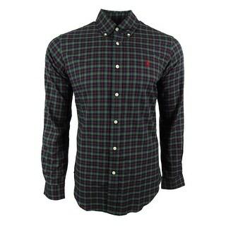 Polo Ralph Lauren Men\u0027s Checked Twill Shirt (S, Green/Red) - Green