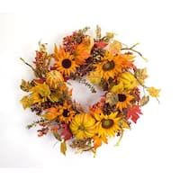 "23"" Yellow and Orange Autumn Harvest Sunflower Berries and Pumpkin Wreath - Unlit"