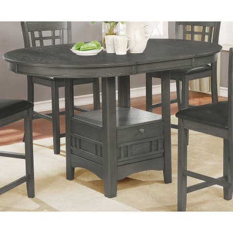 Clare Medium Grey Oval Counter Height Table with Leaf
