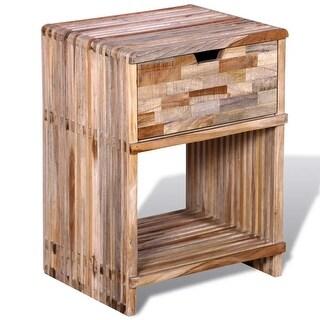 vidaXL Nightstand with Drawer Reclaimed Teak Wood