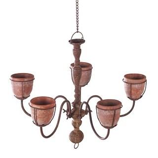 Chandelier Planter with 5 Cement Indoor/Outdoor Hanging Flower Pot Basket - 21 in. x 21 in. x 18 in.