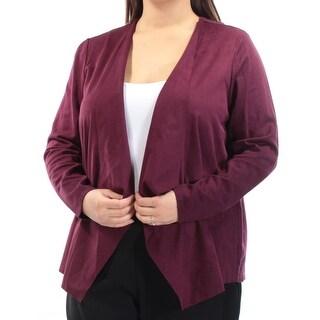INC $80 Womens New 1194 Burgundy Trapeze Style Blazer Jacket 1X Plus B+B