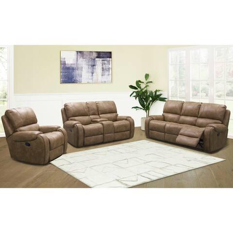 Abbyson Houston Fabric Manual Reclining Sofa Set