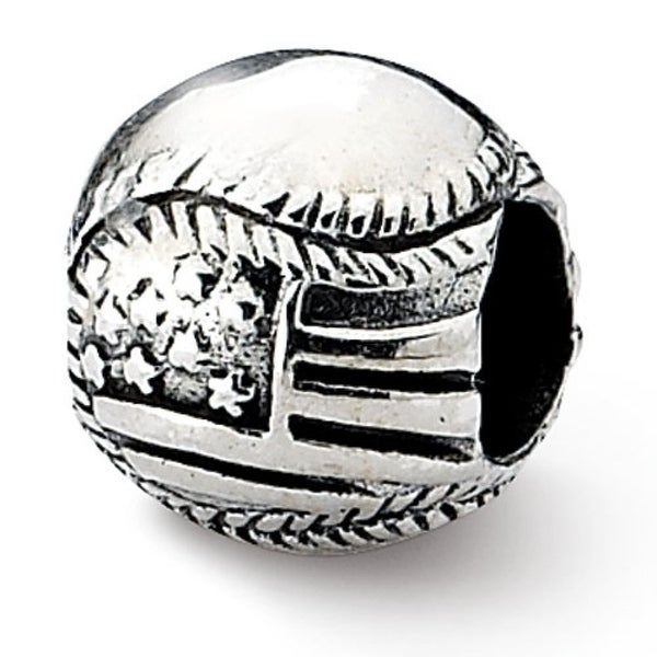 Sterling Silver Reflections USA Flag Baseball Bead (4mm Diameter Hole)