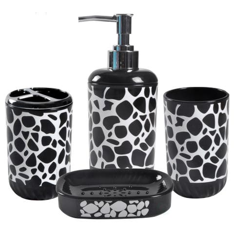 4 Piece Bathroom Accessory Set - Includes Soap Dispenser, Toothbrush Holder, Tumbler, and Soap Dish