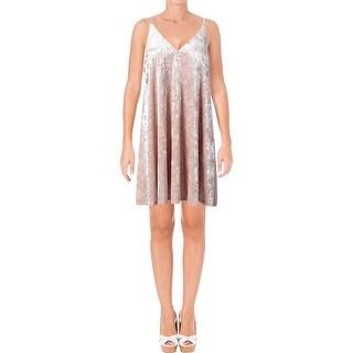 Aqua Womens Slip Dress Velvet V Neck