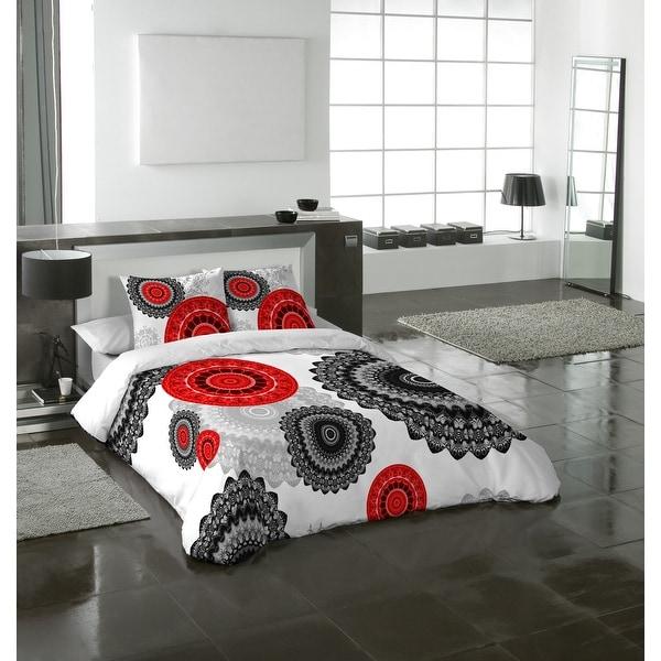 Gouchee Home  Mandala Red 3pc Duvet Cover Set