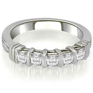 0.85 CT.TW Five-Stone Bar Set Princess Cut Diamond Wedding Band in 14KT Gold - White H-I