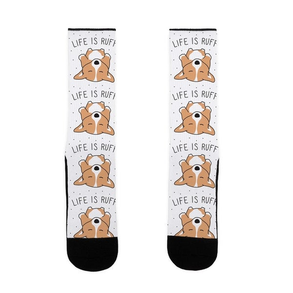 LookHUMAN Life Is Ruff Corgi US Size 7-13 Socks