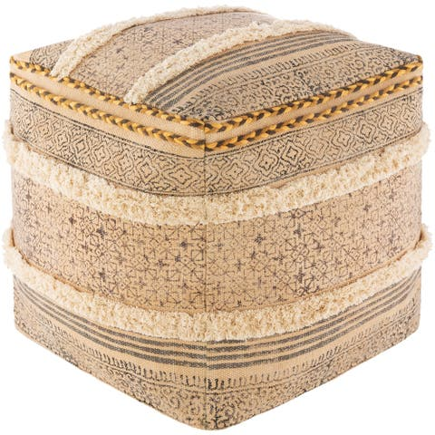 The Curated Nomad Wilmington Bohemian Block Print 18-inch Cube Pouf