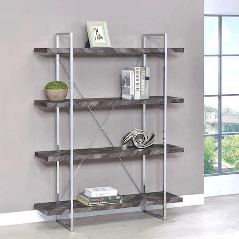 Contemporary Grey Trendy Modern Herringbone Design Bookcase