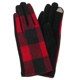 David & Young Women's Buffalo Plaid Winter Gloves
