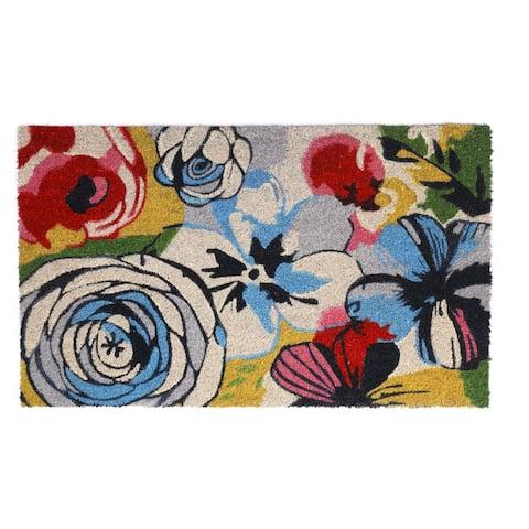 Watercolor Floral Doormat Natural Rubber, Non-Slip, Durable