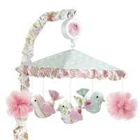Lambs & Ivy Sweet Spring Pink/Blue Floral and Birds Musical Baby Crib Mobile