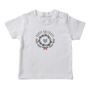 Happy Holidays Text Christmas Wreath Graphic Girl's White T-shirt