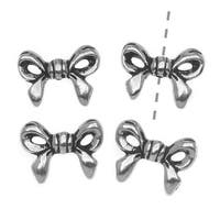 TierraCast Silver Plated Pewter Ribbon Bow Component Beads 13.8mm (4)