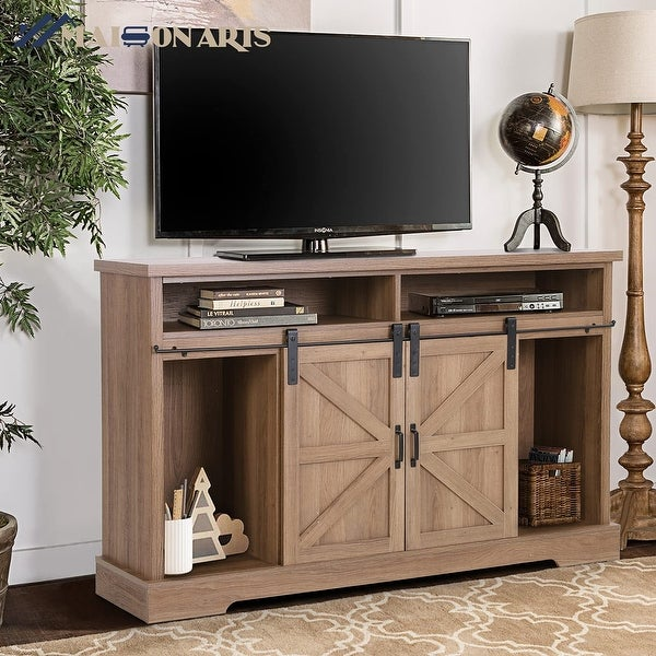 MAISON ARTS 52-Inch Farmhouse Sliding Barn Door TV Stand Sideboard Buffet Storage Cabinet. Opens flyout.