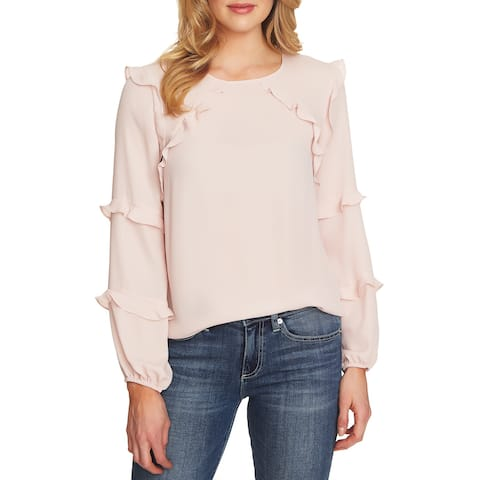 Cece Womens Large Tiered Ruffle Long Sleeve Blouse