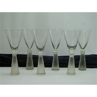 Three Star Frosted Decorated Base Martini/ Wine Glass - Set of 6