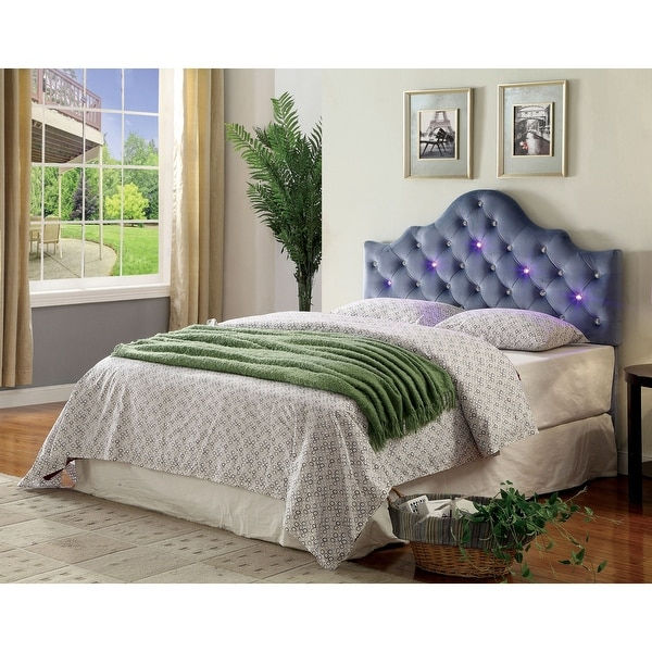 Furniture of America Lina Contemporary Fabric Tufted Crown Headboard. Opens flyout.