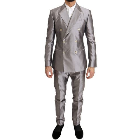 Silver Silk Double Breasted 3 Piece Men's Suit