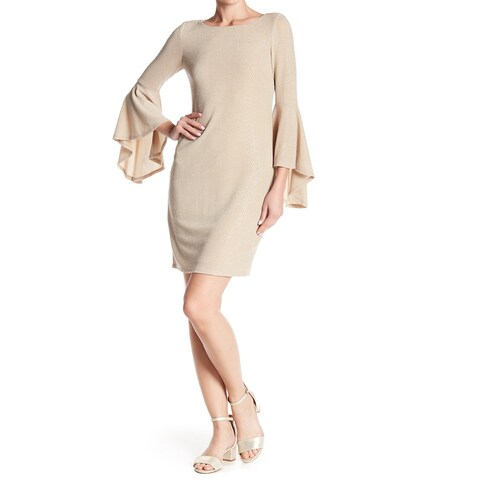 Eliza J Womens Bell-Sleeve Metallic Knit Sheath Dress