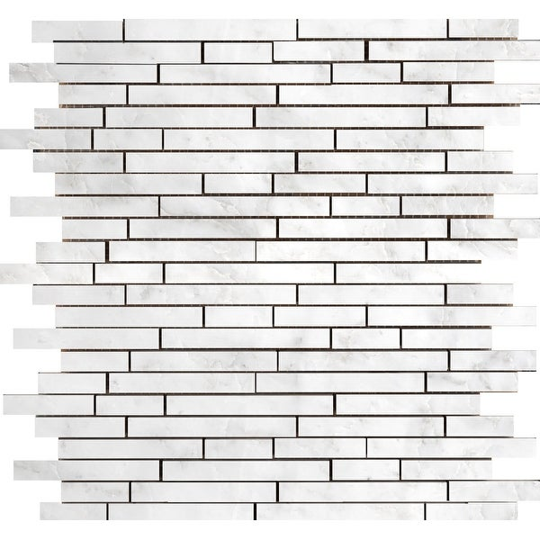 Emser Tile M05WINT1213MOL Marble - Random Linear Mosaic Wall Tile - Polished Marble Visual - Winter Frost