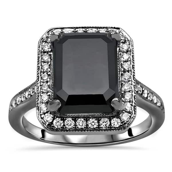 Black Diamond Ring 925 Silver Round Cut Engagement Ring Weeding Ring For Her.. AAA Quality Certified 3 Stone Ring 2 Ct