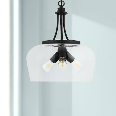 CO-Z 3-Light Matte Black Dome Pendant Light with Glass Shade