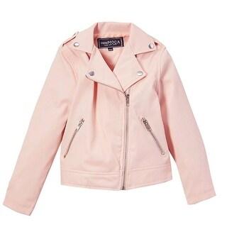 Mini Moca Girls Blush Faux Leather Zipper Pockets Jacket