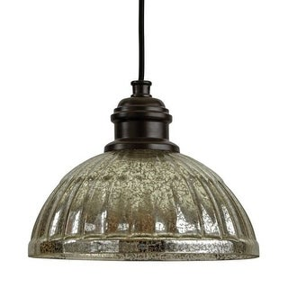 """Park Harbor PHPL5461 10"""" Wide Single Light Mini Pendant with Ribbed Glass Dome Shade"""