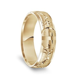 14k Yellow Gold Satin Finished Polished Edges Ring With Polished Cross Cuts 6mm