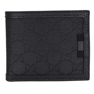 Gucci Men's 260987 Black Nylon Web Detail GG Guccissima Bifold Wallet