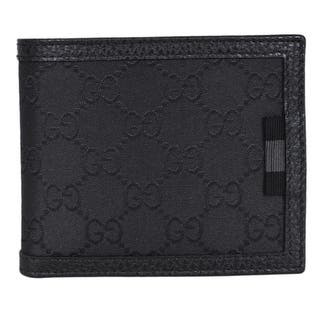 dc0a0ef2a25 Quick View.  395.00. Gucci Men s 260987 Black Nylon Web Detail GG  Guccissima Bifold Wallet