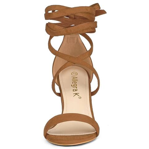 Women's Open Toe Lace Up Chunky High Heel Sandals