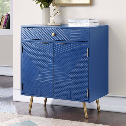"""2 Doors Accent Cabinet Blue Solid Wood Entryway Table Storage With Drawer With Gold Finish Legs - 28""""Wx32""""Hx18""""D"""