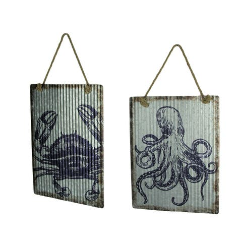 Ribbed Texture Galvanized Metal Octopus and Crab Art Wall Hanging Set - 15.75 X 12 X 0.25 inches