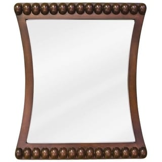 Jeffrey Alexander MIR035 Rosewood Beaded Collection Rounded 24 x 28 Inch Bathroom Vanity Mirror