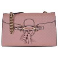 "Gucci Women's 449635 Pink Micro GG Guccissima Leather Emily Purse Handbag - Soft Pink - 11.8"" x 7.3"" x 3"""