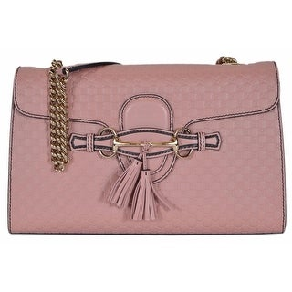 "Gucci Women's 449635 Pink Micro GG Guccissima Leather Emily Purse Handbag - Soft Pink - 11.8"" x 7.3"" x 3"""