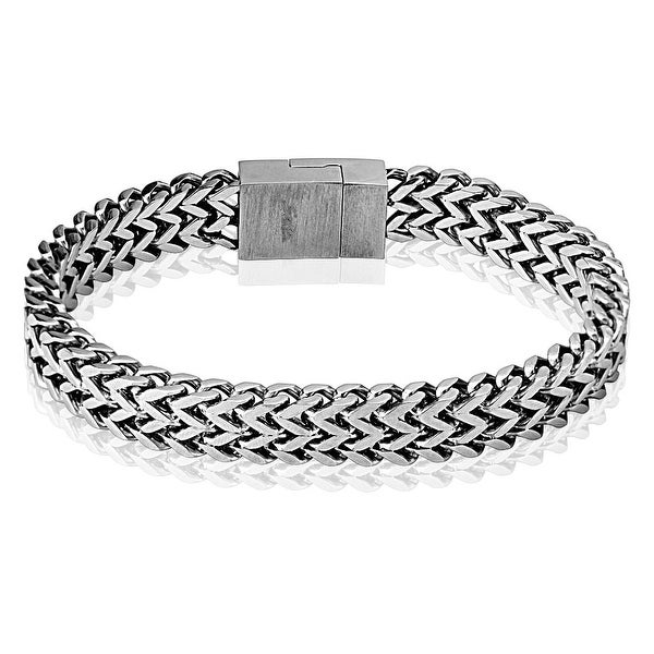 Square Chain and Easy Magnet Locking Square Clasp 316L Stainless Steel Bracelet (8.5 mm) - 8.5 in